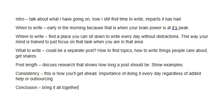 outline for blog post
